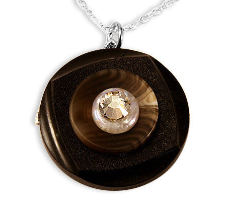 Jet Brown Crystal Vintage Button Pendant - SWCreations