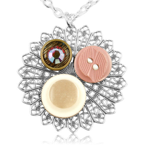 Pink Creative Collage Button Pendant - SWCreations