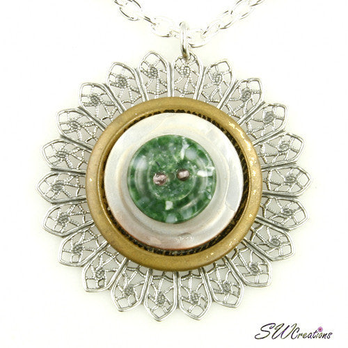 Moss Green Gold Silver Button Pendant - SWCreations
