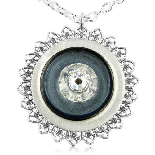 Pacific Blue Crystal Button Pendant - SWCreations