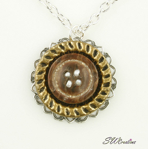 Topaz Brown Pearl Button Pendant - SWCreations