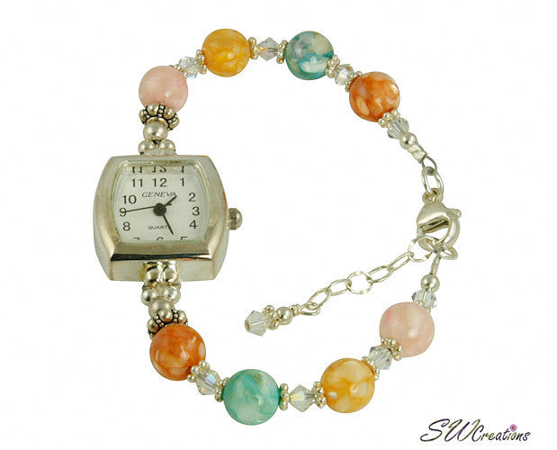 Divine Mother of Pearl Shell Beaded Watch - SWCreations  - 1