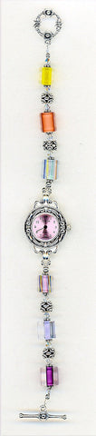 Pink Cane Glass Glass Crystal Watch - SWCreations