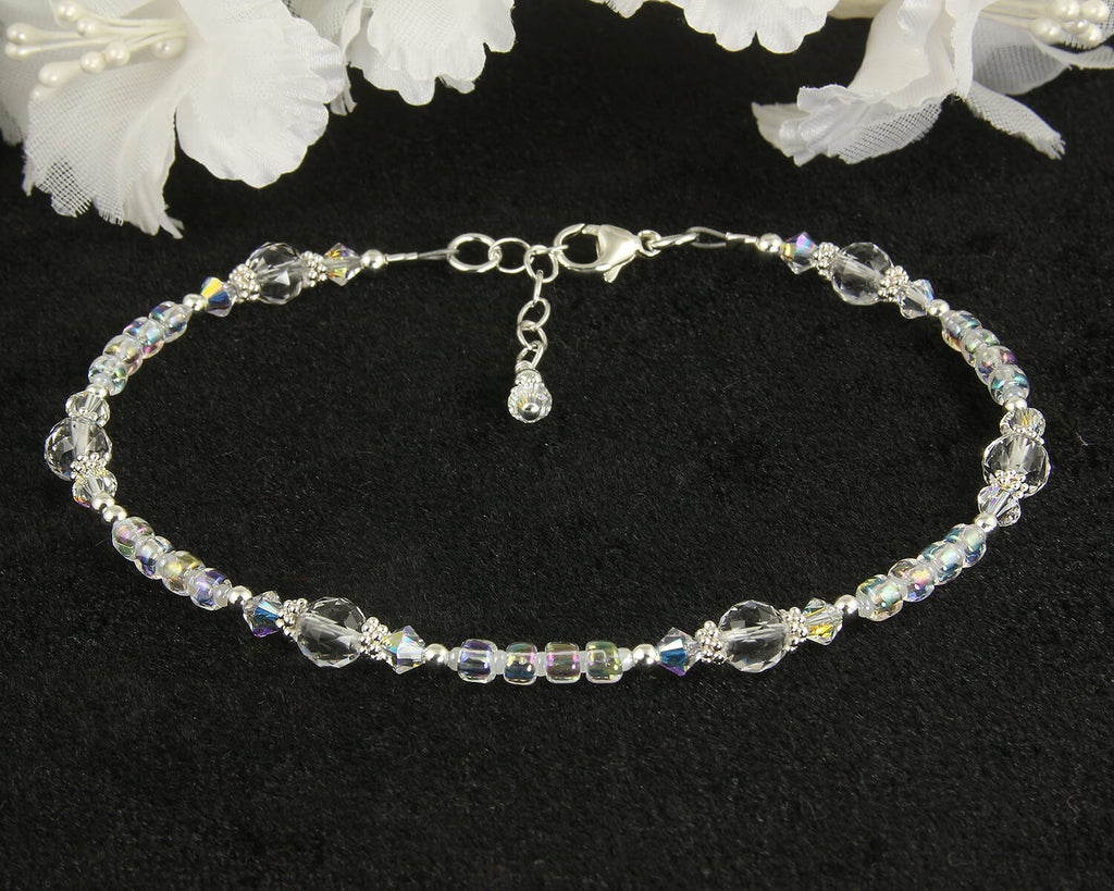 Iridescent Crystal Gemstone Beaded Anklet