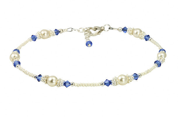 Classic - Something Blue Wedding Sapphire Heart Anklets - SWCreations