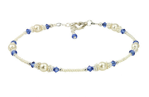 Classic - Something Blue Wedding Sapphire Heart Anklets - SWCreations  - 1