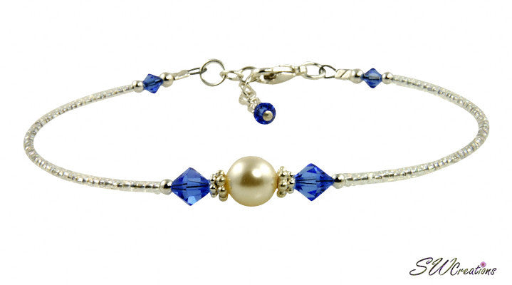 Luxurious Blue Pearl Beaded Anklet - SWCreations