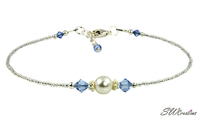 Victoria - Something Blue Wedding Sapphire Crystal Anklet - SWCreations