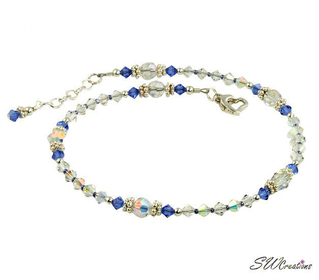 Shimmering - Something Blue Sapphire Wedding Anklet - SWCreations  - 4
