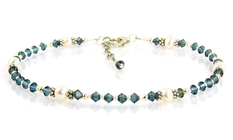Athena - Something Blue Dark Freshwater Pearl Wedding Anklet - SWCreations  - 1