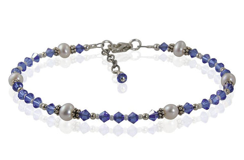 Athena - Something Blue Freshwater Pearl Wedding Anklet - SWCreations