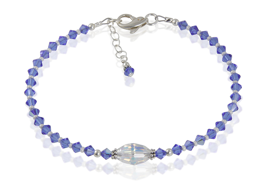 Atlantis - Something Blue Wedding Crystal Beaded Anklet - SWCreations  - 2