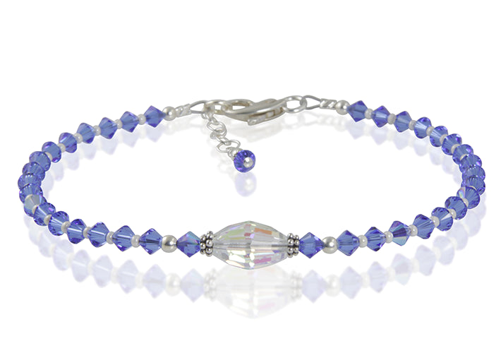 Icelyn - Something Blue Wedding Crystal Beaded Anklet - SWCreations  - 1