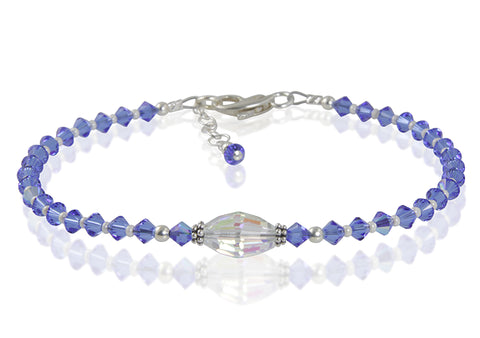 Icelyn - Something Blue Wedding Crystal Beaded Anklet - SWCreations