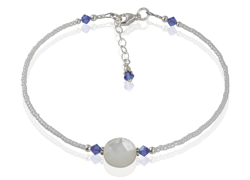 Chelsea - Something Blue Mother of Pearl Wedding Anklet - SWCreations  - 2