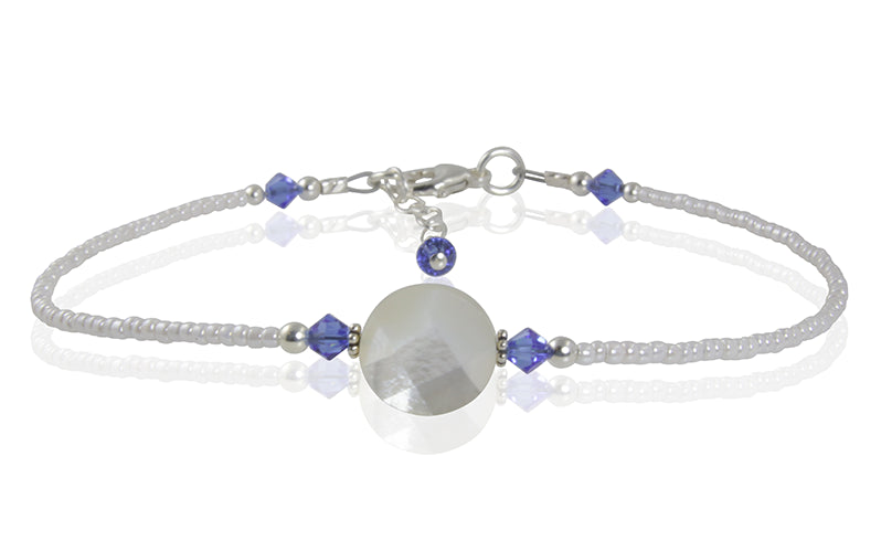 Chelsea - Something Blue Mother of Pearl Wedding Anklet - SWCreations  - 1