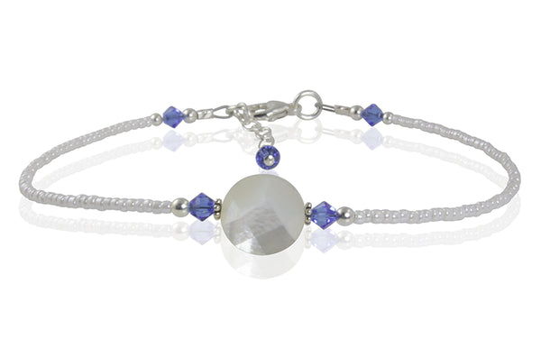 Chelsea - Something Blue Mother of Pearl Wedding Anklet - SWCreations
