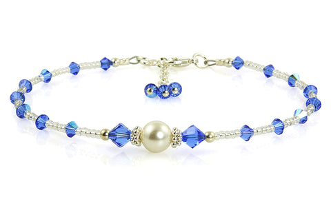 J'adore - Something Blue Wedding Sapphire Anklet - SWCreations