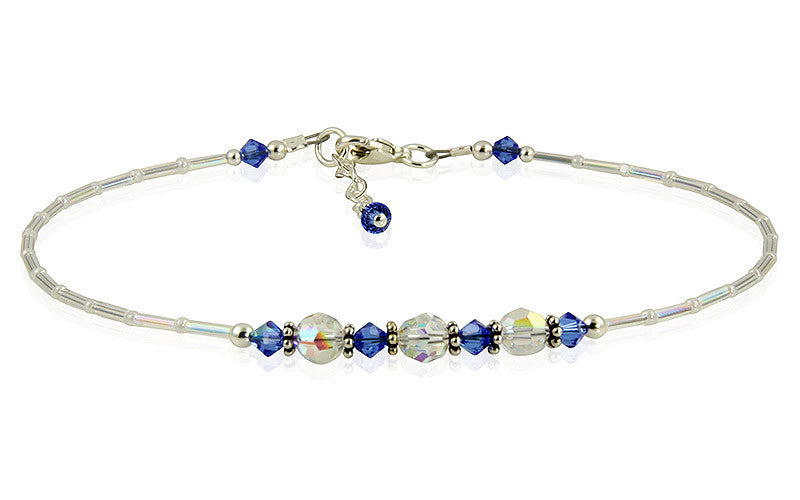 Serenity - Something Blue Wedding Sapphire Anklet - SWCreations