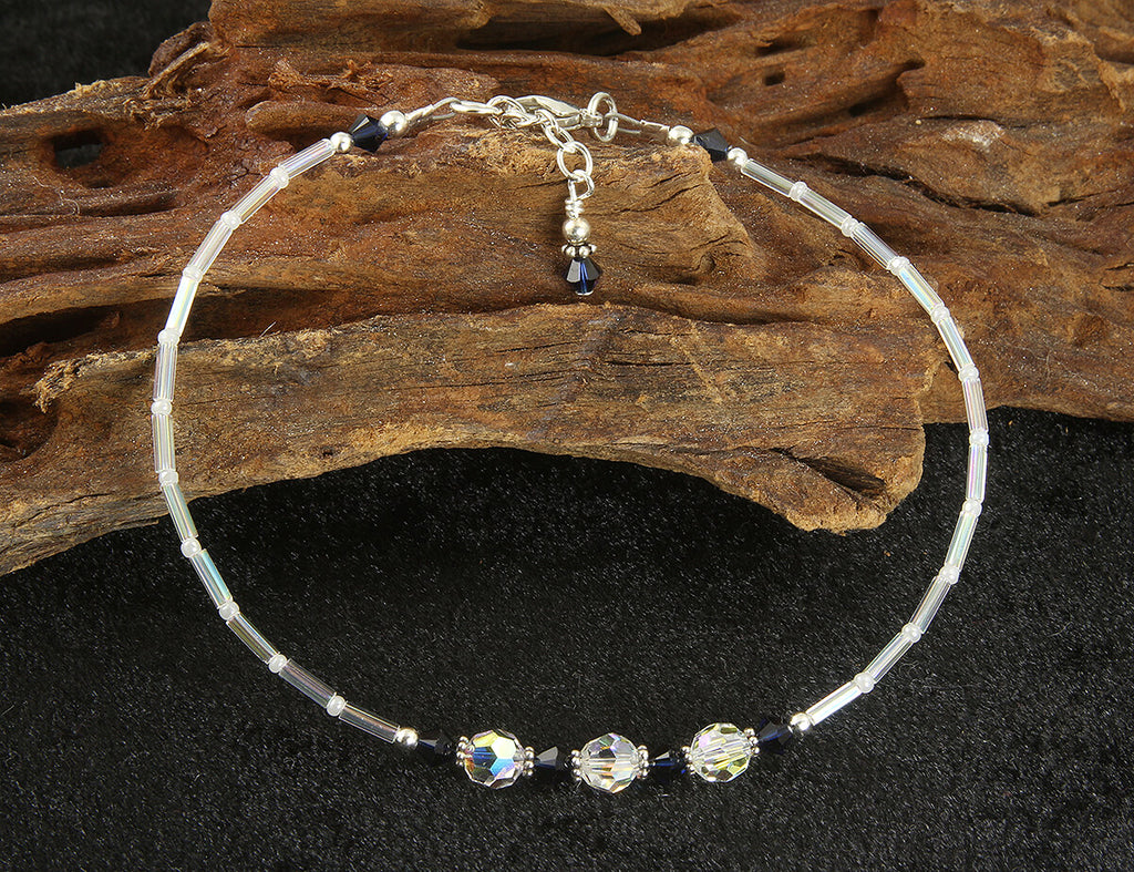 Kismet - Something Dark Blue Crystal Wedding Anklet