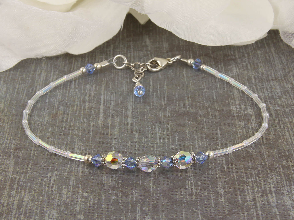 Serenity - Something Blue Light Sapphire Wedding Anklet