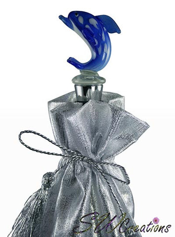 Blue Dolphin Glass Wine Stopper - SWCreations