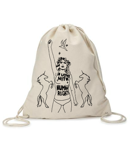 """In LOVE with HUMAN RIGHTS"" Canvas Drawstring Quickie Take Bag"