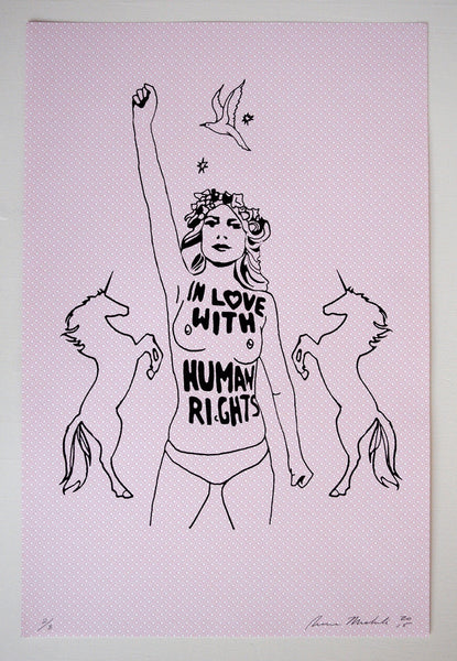 """In Love with Human Rights""   Limited Edition screen print on Vintage French Paper."