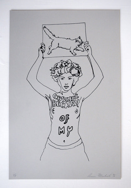 """Obscene Because Of My""   Limited Edition screen print on Vintage French Paper."