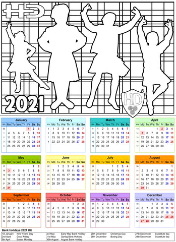 A4 2021 Colour In Calendar Boys - (FREE Digital Download)