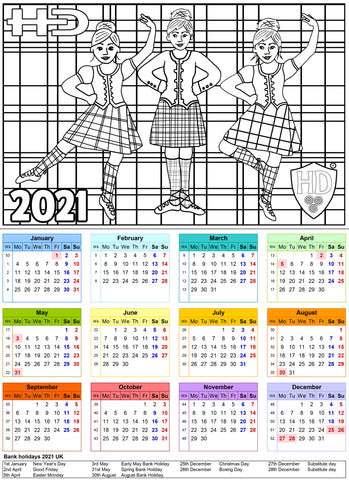 A4 2021 Colour In Calendar Girl - (FREE Digital Download)