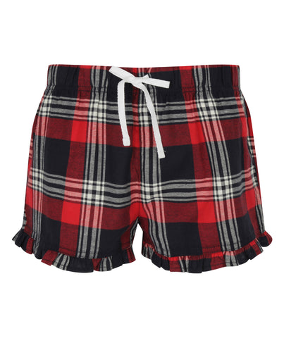 Tartan Frill PJ Shorts - Navy/Red - Ladies