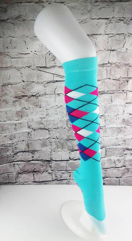 KIDS - Light Blue HD Tartan Practice Sock - LAST FEW LEFT