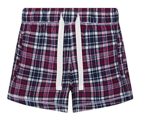 Tartan Flannel PJ Shorts - Navy/Pink - Ladies