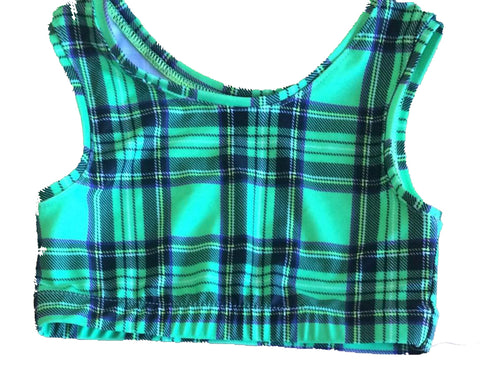 Tartan Lycra Crop Top - Adults