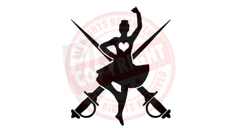 Girl Dancer and Swords Decal #3