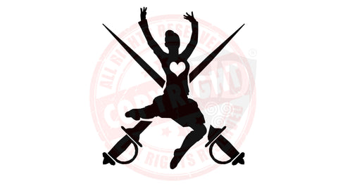Girl Dancer and Swords Decal #2