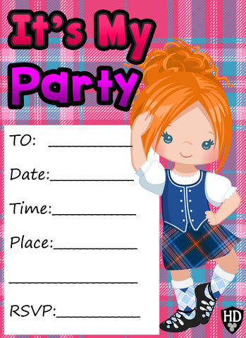 Party Invite #1b (Full Colour) (FREE DIGITAL DOWN LOAD)