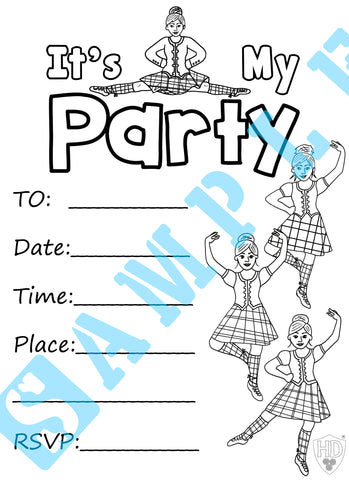 Colour in Party Invite #1 (FREE DIGITAL DOWN LOAD)