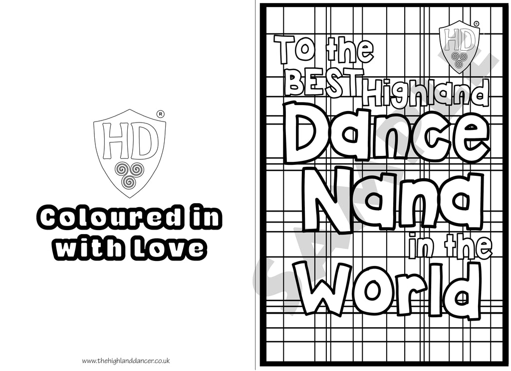 Nana Colour In Birthday Card FREE Digital Down Load 1 The Highland Dancer