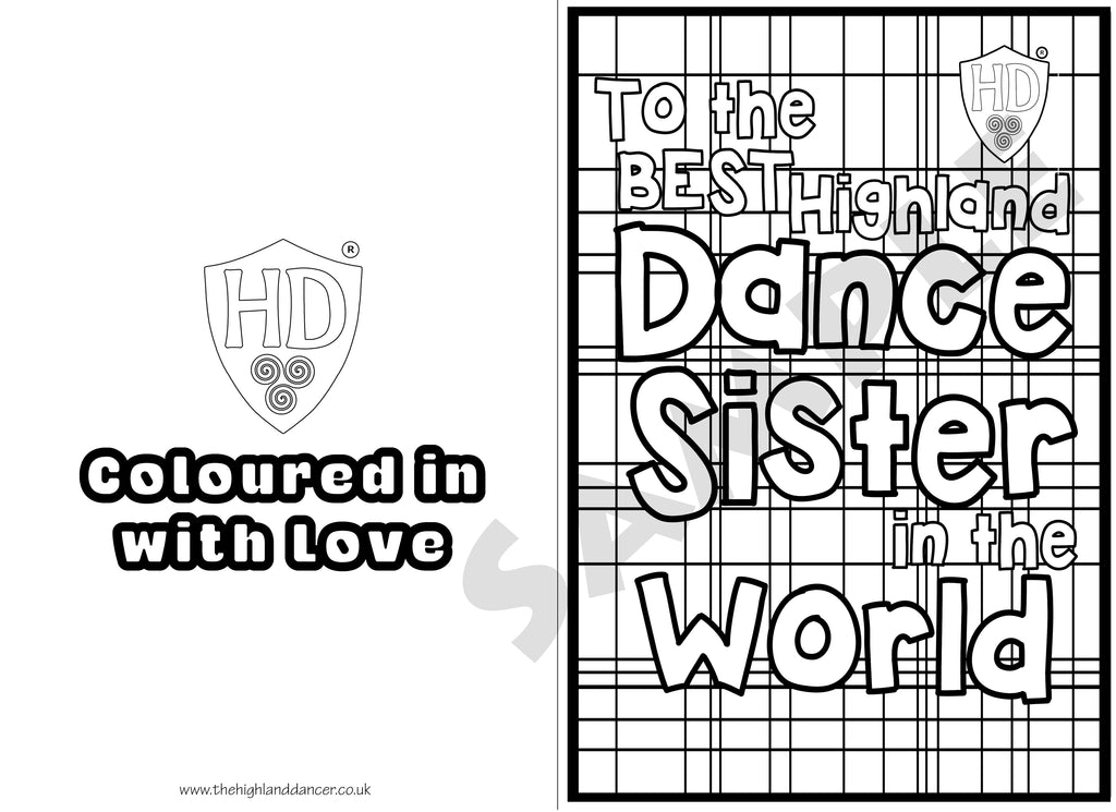 Sister Colour In Birthday Card FREE Digital Down Load 1 The Highland Dancer