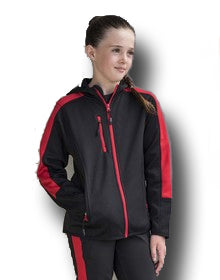 Soft Shell Jacket with Hood & Red Stripe Sleeves - Kids
