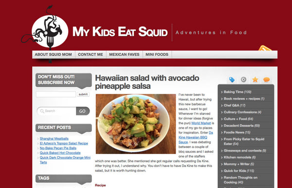 mykidseatsquid.com: Hawaiian salad with avocado pineapple salsa