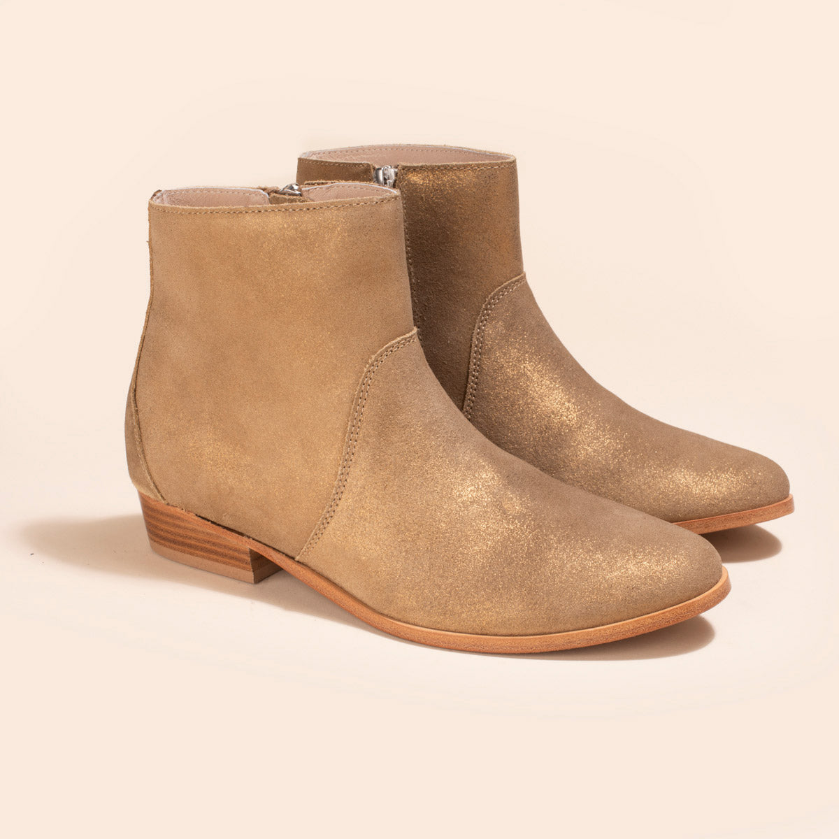 Bottines Tara Veau Velours Irisé Cappucino