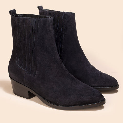 Bottines Elizabeth Veau Velours Marine