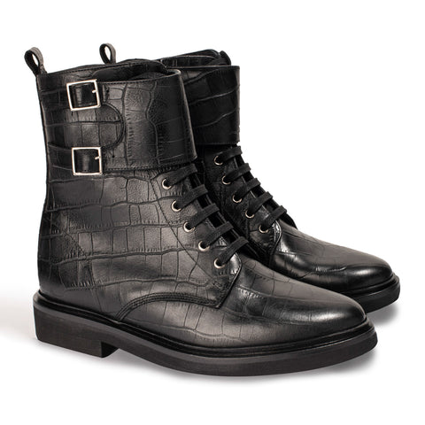 Boots London Croco Noir - Anaki Paris