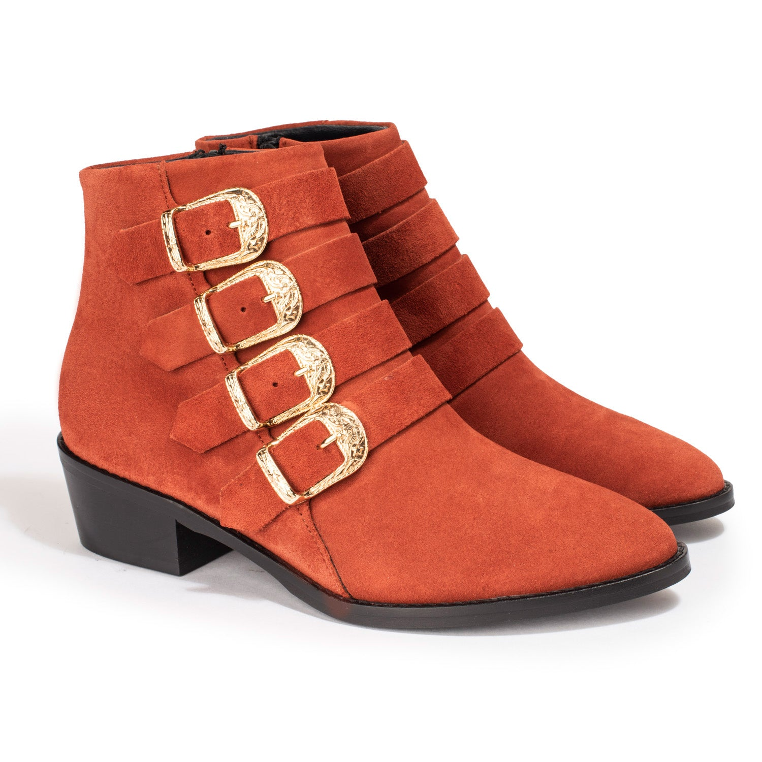 Bottines Cathia Velours Rouille - Anaki Paris
