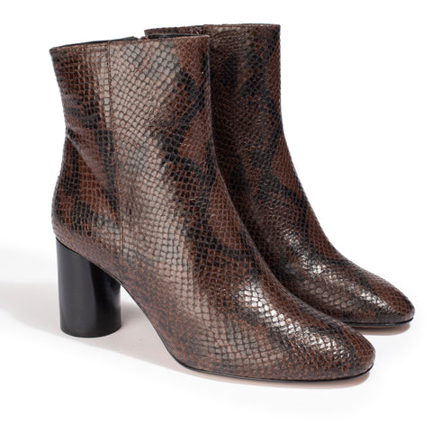 Bottines Ripon Python Marron - Anaki Paris