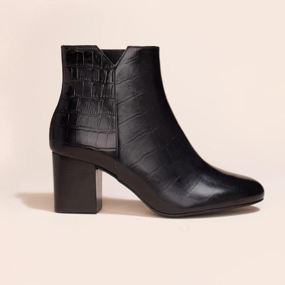 Boots Virgin Croco noir - Anaki Paris