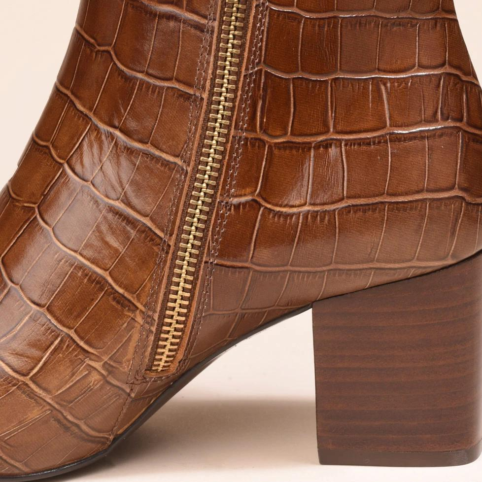 Boots Virgin Croco Caramel - Anaki Paris